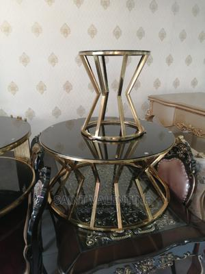 Quality Portable Glass Center Table With Two Side Stool | Furniture for sale in Lagos State, Lekki