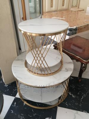 Quality Portable Marble Center Table With Two Side Stool | Furniture for sale in Lagos State, Lekki