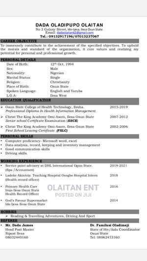 Clerical Administrative CV | Clerical & Administrative CVs for sale in Osun State, Ilesa