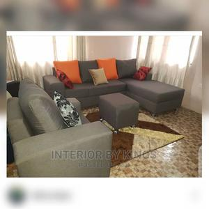 L-Shaped Fabric Sofa With One Single +Ottoman | Furniture for sale in Lagos State, Badagry