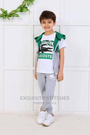 Designer Children Wears-Lacoste 3pcs Joggers Set -Green | Children's Clothing for sale in Lagos State, Ikeja