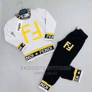 Designer Children Wears-Fendi Shirt and Joggers Set -Black | Children's Clothing for sale in Lagos State, Ikeja