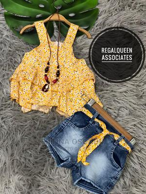Yellow Sleeveless and Blue Jean Shorts   Children's Clothing for sale in Imo State, Owerri