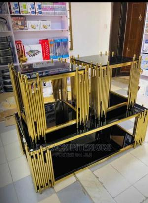Beautiful Gold Center Table and Stools   Furniture for sale in Lagos State, Ojo