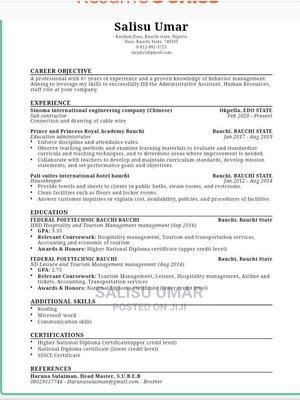 Human Resources CV | Travel & Tourism CVs for sale in Bauchi State, Bauchi LGA