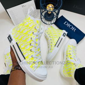 *B23 HIGH-TOP SNEAKER* White and Yellow Dior Oblique Canvas   Shoes for sale in Lagos State, Lagos Island (Eko)