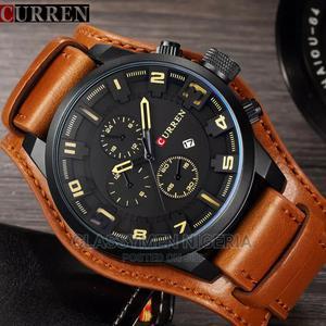 CURREN Top Luxury Waterproof Calendar Brown Leather Watch | Watches for sale in Lagos State, Ejigbo