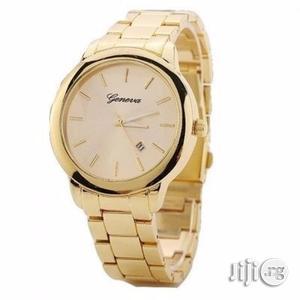 Steel Unisex Analog Quartz Rhinestone Wristwatch-Gold   Watches for sale in Lagos State, Ikeja