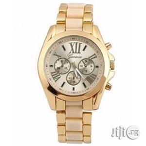 Unisex Analog Quartz Rhinestone Wristwatch - Gold & Cream   Watches for sale in Lagos State, Ikeja