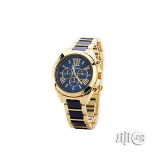Steel Unisex Quartz Rhinestone Wristwatch- Gold/Navy Blue   Watches for sale in Lagos State, Ikeja