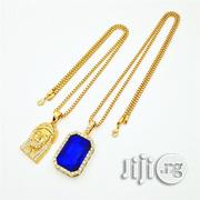 Jesus Piece Blue Ruby Onyx Pendant Gold Chain | Jewelry for sale in Lagos State, Lagos Island