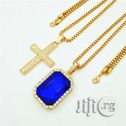 Cross Blue Ruby Onyx Pendant Gold Chains | Jewelry for sale in Lagos State, Lagos Island