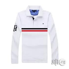 Tommy Hilfiger Mid Striped Long Sleeve Logoed Polo Shirts White