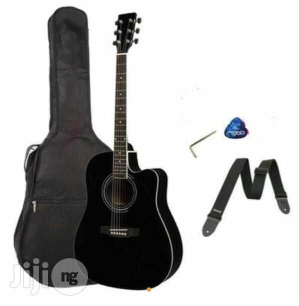 Acoustic Box Guitar With Accessories- Black