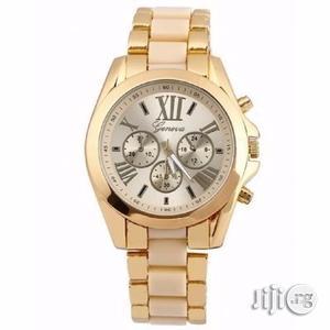 Unisex Analog Quartz Rhinestone Wristwatch - Gold Cream   Watches for sale in Lagos State, Ikeja